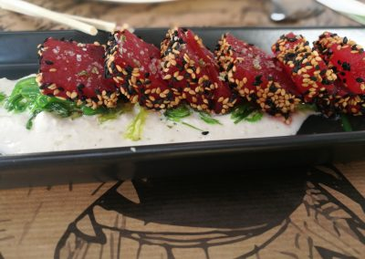 Tataki con ajoblanco