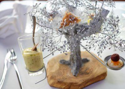 El Olivo. Migas de chicharrones, sobrasada de ganso de Constantina, puré de papas aliñás